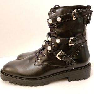 ZARA Size 10 Black Leather Faux Pearl Combat Boots